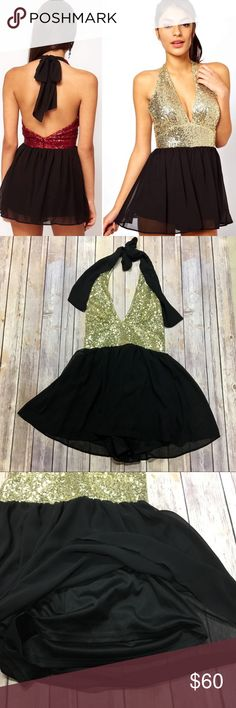 """ASOS Metallic Gold Sequin Halter Playsuit Romper Brand new! Color is gold, stock photo showing the back is just for reference. Shorts have a 2"""" inseam and are fully lined. Halter tie is adjustable and there is a back zipper.   According to brand site, US size 6 is approx 35"""" bust, 28"""" Waist and 37"""" hips. ASOS Pants Jumpsuits & Rompers"""
