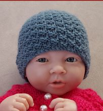 Double moss stitch beanie knitting pattern, in baby sizes. Knitted Baby Beanies, Baby Hats Knitting, Knit Beanie, Knitted Hats, Baby Knits, Baby Hat Patterns, Baby Knitting Patterns, Crochet Patterns, Crochet Baby