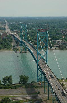 Ambassador Bridge - connects Detroit and Windsor, Ontario, Canada.