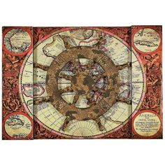 """Universal Lighting and Decor World Map with Rustic Ship Wheel 22"""" W... (€53) ❤ liked on Polyvore featuring home, home decor, wall art, pirates, steampunk, brown, sea wall art, universal lighting and decor, sea home decor and ocean home decor"""