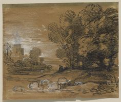 Thomas Gainsborough Wooded Landscape with Shepherd and Sheep, Winding River and Tower mid– to late- Black chalk heightened with white chalk on paper 7 x 8 in. Korean Painting, Chinese Painting, Painting & Drawing, Korean Art, Asian Art, Thomas Gainsborough, Landscape Drawings, Landscapes, Wooded Landscaping
