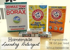 Homemade laundry detergent.      Super CHEAP - 3¢ - 6¢ a load, easy to make and smells really good!