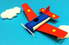 Plane toilet-roll craft: your cheeky chaps will have great fun making and playing with this toilet roll aeroplane craft.