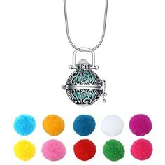 Aromatherapy Jewelry Necklace 316L Steel Material Locket Style Pendant Essential Oil Difusser 10 Colorful Cashmere Sustained Release Ball Christmas Gift Set Of 7
