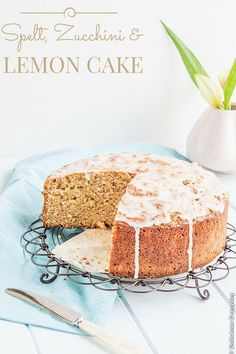 Spelt Zucchini and Lemon Cake recipe - a beautiful dairy free cake with a fresh zing of lemon | Get the recipe at DeliciousEveryday.com