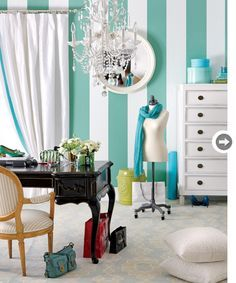 10 ways to add Tiffany Blue-inspired hues to your home - Style At Home Tiffany Blue Wallpapers, Blue Striped Walls, Striped Walls, Tiffany Blue Rooms, Trending Decor, Tiffany Blue Paint, Tiffany Blue Walls, Blue Wallpapers, Blue Rooms