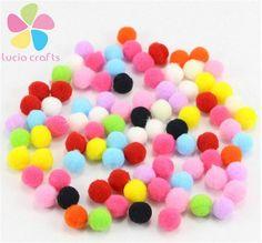 Lucia Crafts 500-1000pcs/lot 8mm Crafts Round Shaped Pompom Mixed Color Soft Fluffy Pom Pom for kids 22010038