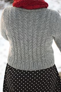 "Clara is a cardigan knitted flat, bottom-up in one piece with very little sewing involved. Sleeves are knitted separately and joined with the body in a way that creates ""set-in sleeve"" look."