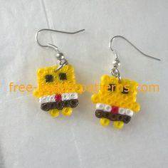 Spongebob girl earrings Hama Beads mini work photos (4)
