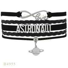 Custom- Gifts Bracelet Black Women Leather Custom Bracelet Gifts Infinity Love Astronaut Planet Charm Bracelets(China (Mainland))