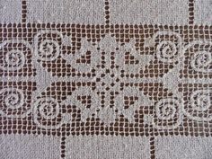 "Vintage Tablecloth Italian Filet Lace 56"" by 90"" - Hand-Made Beautiful!"