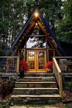 Tiny House Cabin, Tiny House Design, Cabin Homes, Log Homes, A Frame House Plans, A Frame Cabin, Cabins In The Woods, House In The Woods, Cabins And Cottages