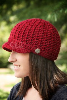 Women's Brimmed Beanie  Autumn Red by OliJAccessories on Etsy, $25.00