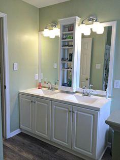 Master Bathroom vanity sink mirror update - built in shelves, framed mirror with molding trim
