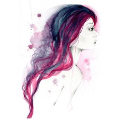 Purple Hair Art Print of a Girl Fashion Wall Art Hair Salon Decor... (42 AUD) ❤ liked on Polyvore featuring home, home decor, wall art, ink painting, abstract home decor, purple home decor, framed abstract wall art and purple home accessories
