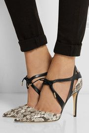 Jimmy Choo Lapris elaphe and leather pumps