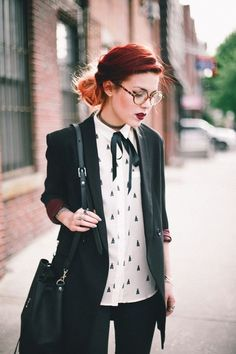 A hipster-alternative look - glasses, high-neck top with a bow and a new hair color. | Office Inspiration: 50 Not Boring Outfits to Wear to Work