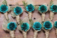 Dark Teal Burlap Boutonnieres                                                                                                                                                                                 More