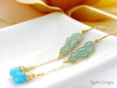 Gold Turquoise Amorphous leafs with dangle by SigaliotJewelry, $38.00