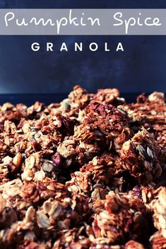 This is, actually, my year-round go-to granola recipe! But, come October, I go full pumpkin spice mode! Then, when spring comes, I go back to just cinnamon! Add it to Greek yogurt and drizzle a bit of honey, and you'll have the perfect snack! #homemadegranola #pumpkinspice #vegetariansnacks Vegetarian Snacks, Pumpkin Pie Spice, Greek Yogurt, Granola, Peanut Butter, Cinnamon, Spices, Honey, October