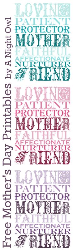 Free Mother's Day Printable (1 page) #printables http://anightowlblog.com/2012/05/printables-mothers-day-2.html