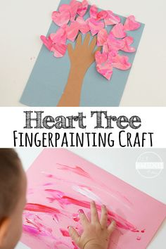 Valentines Fingerpainted Heart Tree - super cute valentines day craft for kids, for toddlers, for preschoolers, and kindergarten age kids. It is perfect for a gift or for schools. This heart craft is easy to make and super cute! for kindergarten Toddler Valentine Crafts, Kinder Valentines, Valentines Day Activities, Funny Valentine, Party Activities, February Toddler Crafts, Valentines Crafts For Preschoolers, Kids Birthday Crafts, Valentines Art For Kids
