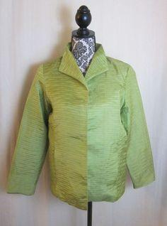 SILKLAND Women's Lime Green 100% Silk Fully Lined Blazer Jacket S Small #Silkland #Blazer