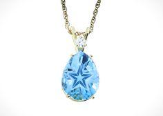 Lone Star Cut Blue Topaz Open Design 14k Gold Pendant