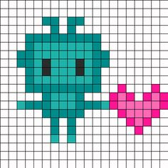 LoveBot - free cross stitch or hama beads pattern Perler Bead Designs, Diy Perler Beads, Melty Bead Patterns, Hama Beads Patterns, Beading Patterns, Kandi Patterns, Beaded Cross Stitch, Cross Stitch Embroidery, Cross Stitch Patterns