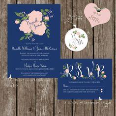 Fancy florals navy wedding invites