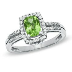 Peridot and White Topaz Frame Ring - also a good choice