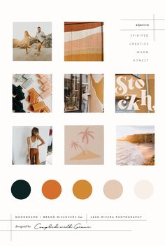 Honest, Coastal, Spirited, Warm, Creative, Adventurous, Beachy, moodboard designed for Leah Rivera Photography by Coupled With Grace. Think warm sand and sun. Warm Friendship. Orange. Yellow. Tan. Coral. Deep Teal. Teal. Brand Design. Brand Development. Brand Inspiration. Web Design. Brand Board.