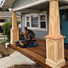 Front Porch Columns Home Depot . Front Porch Columns Home Depot . Craftsman Columns, Mobile Home Porch, House With Porch, Remodel, House Exterior, Front Porch Columns, Front Porch Design, Craftsman House, Building A Porch