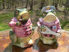 (2)-Antique 1800s MAJOLICA Frog Tobacco Jar Humidors, Pipe Smoker/Banjo Player!