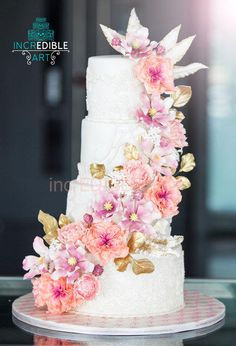 Edens' Blush- Pink and peach theme Wedding Cake - Cake by Rumana Jaseel