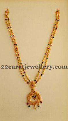 Jewellery Designs: 2 Line Gundu Mala 30gms