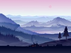 I begun a small project illustrating landscapes with a calm feeling to it and trying to get a more
