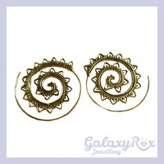 Image of Ornate Handmade Brass Spiral Earrings