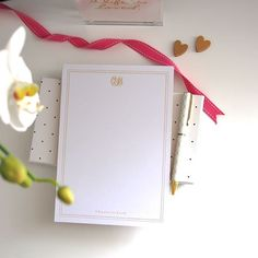 Personalized Notepad  Monogram   Gold Edge by #LetterLoveDesigns, $23.00 #monogram #personalizednotepad