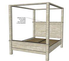 Farmhouse Canopy Bed Frame (All Sizes) - Farmhouse Canopy Bed Frame (All Sizes)
