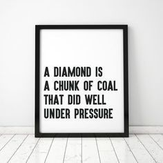 Large 'Diamonds' Typographic Framed Print - Find inspiration from a motivational print.