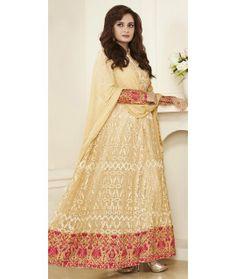 Cheerful Cream Net Anarkali Suit With Dupatta.