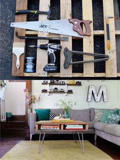 Craft Table / Desk Idea Glass topped, using cast-off Dining Table Legs Diy Pallet Projects, Diy Projects To Try, Make A Table, Vintage Diy, Wood Pallets, Decoration, Home Furniture, Diy Home Decor, Interior Design