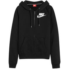 Nike Rally FZ cotton-blend jersey hooded sweatshirt (€74) ❤ liked on Polyvore featuring tops, hoodies, nike, sweatter, black, nike hoodie, zipper hoodie, zipper top and relaxed fit tops