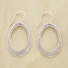 """REDUX HOOP EARRINGS--Recycled sterling silver, forged, oxidized and hammered by hand, makes for a pair of simply elegant hoop earrings to wear every day. USA. Exclusive. 1-1/2""""L."""