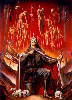 Vlad Tepes, also known as Vlad Dracul. He is the character that inspired the fictional character Dracula, due to his extremely painful and bloody way to execute enemies, impaling them while alive. Vlad Der Pfähler, Vlad El Empalador, Dark Fantasy Art, Dark Art, Comte Dracula, Bram Stoker's Dracula, Arte Horror, Horror Art, Transylvania Dracula Castle