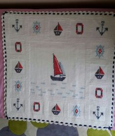 Denizci battaniyesi modelleri Sailor's blanket models Sailor's blanket models Hello ladies who produce, share the sailor blanket models that are the most beautiful breeze of the sea for you … the the blanket Crochet Quilt, Afghan Crochet Patterns, Baby Knitting Patterns, Baby Blanket Crochet, Crochet Motif, Crochet Baby, Cross Stitch Designs, Cross Stitch Patterns, Manta Crochet