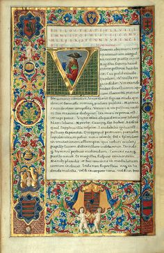 Mátyás király Philostratus kódexe Medieval Books, Medieval Art, Illuminated Letters, Illuminated Manuscript, Medieval Pattern, Illumination Art, Beautiful Calligraphy, Book Of Hours, Typography