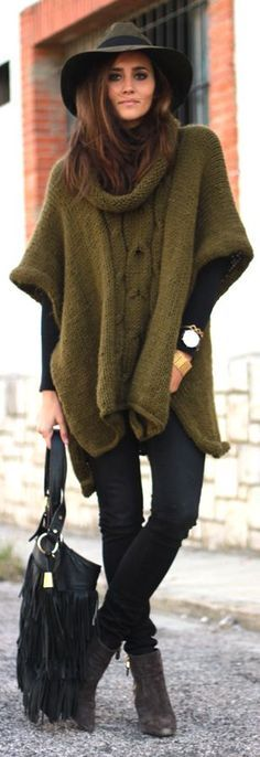 Army Green Cape Cardi with wide brim hat and crazy cool ankle boots. Everything about this style screams..WEAR Me..and I would ☮