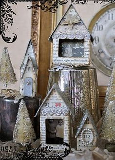 Charming mixed media houses